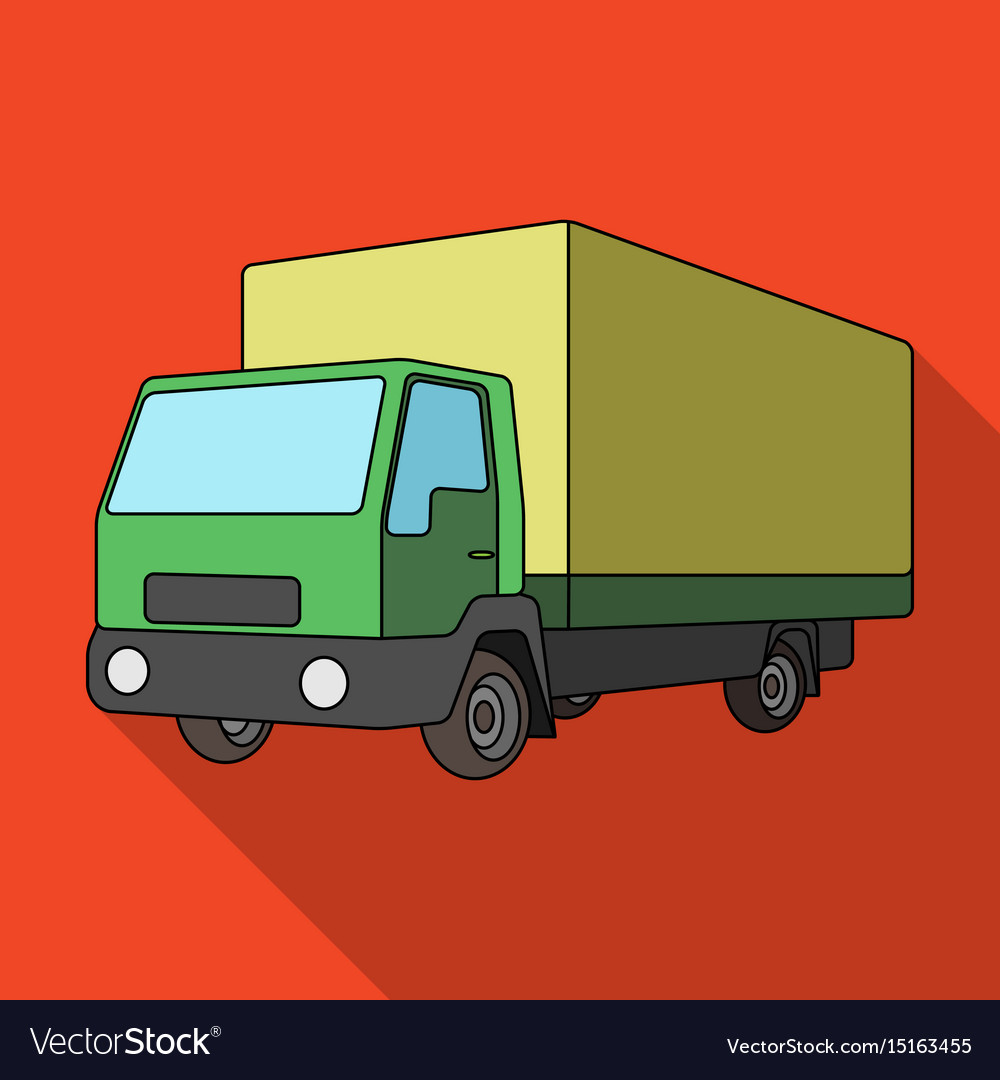 Truck with awningcar single icon in flat style