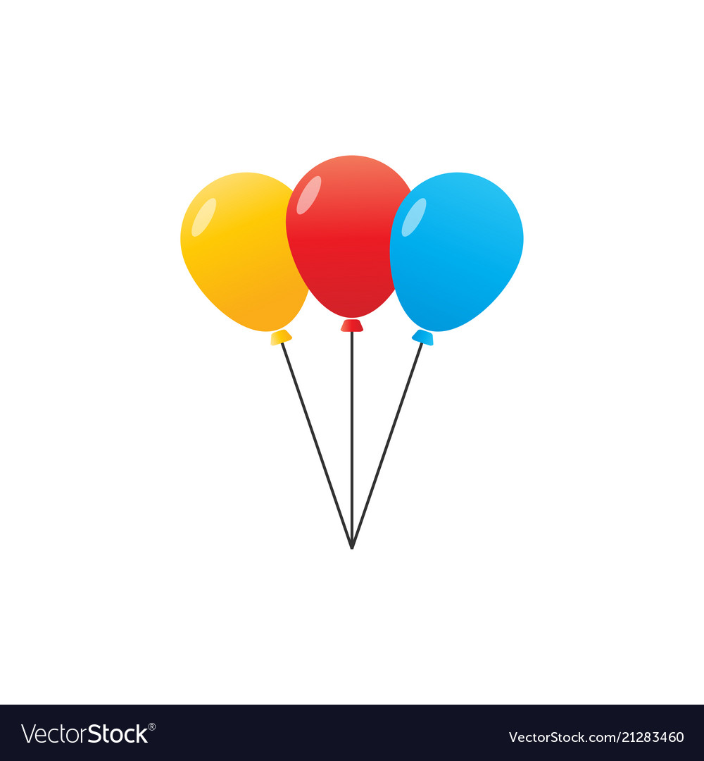 3 balloon with colors vector image