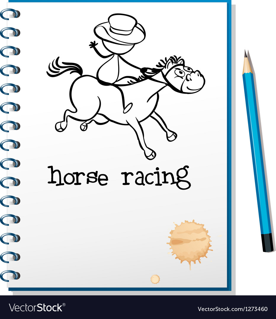 A notebook with a sketch of a man riding a horse