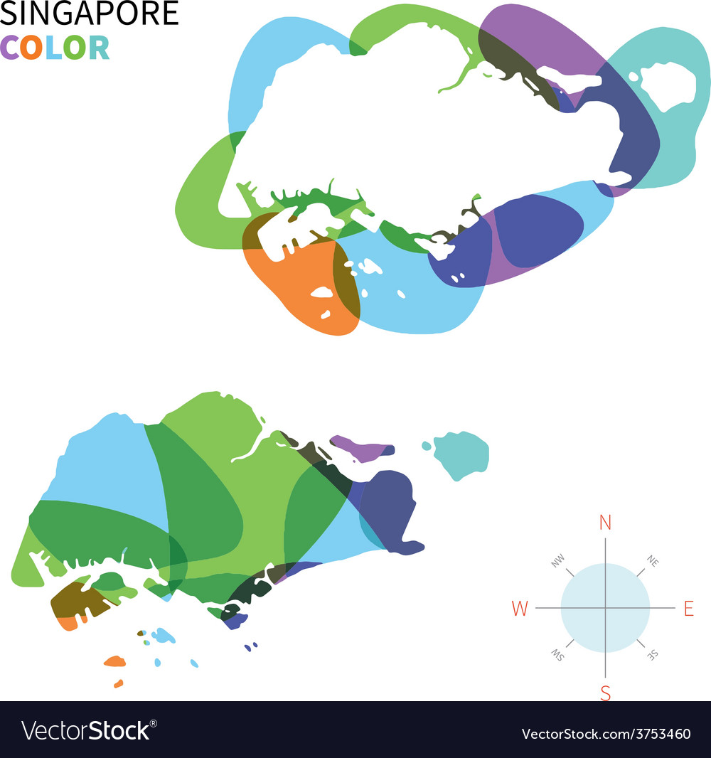 Abstract color map of Singapore Royalty Free Vector Image