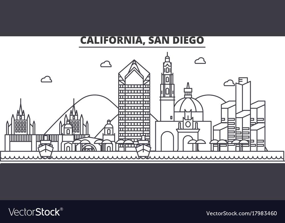 California san diego architecture line skyline