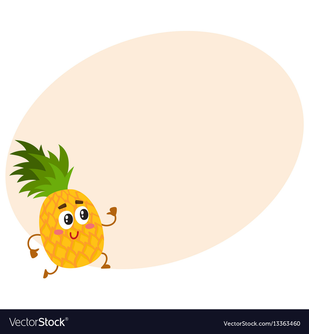 Cute and funny pineapple character running with vector image