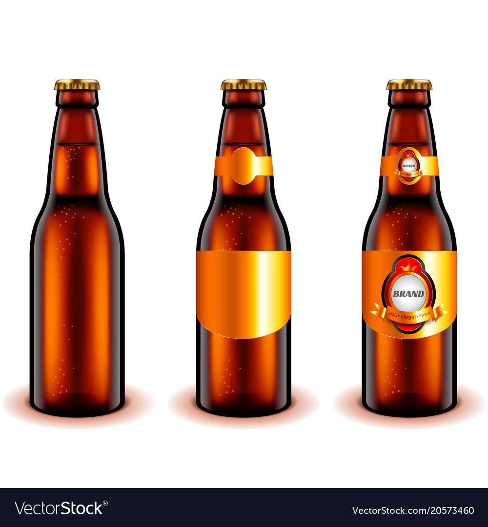 Dark beer bottle design 3d realistic