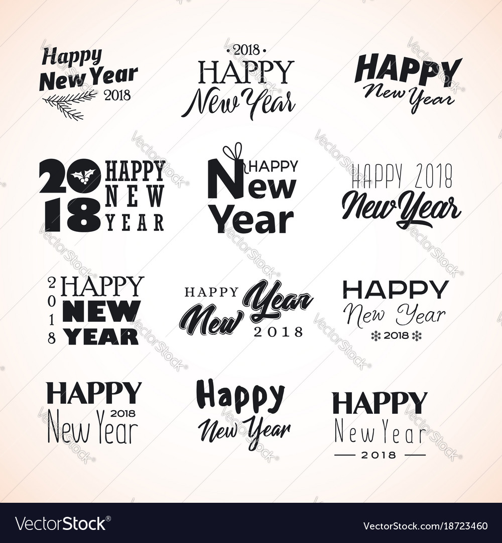 Hand written new year phrases Royalty Free Vector Image