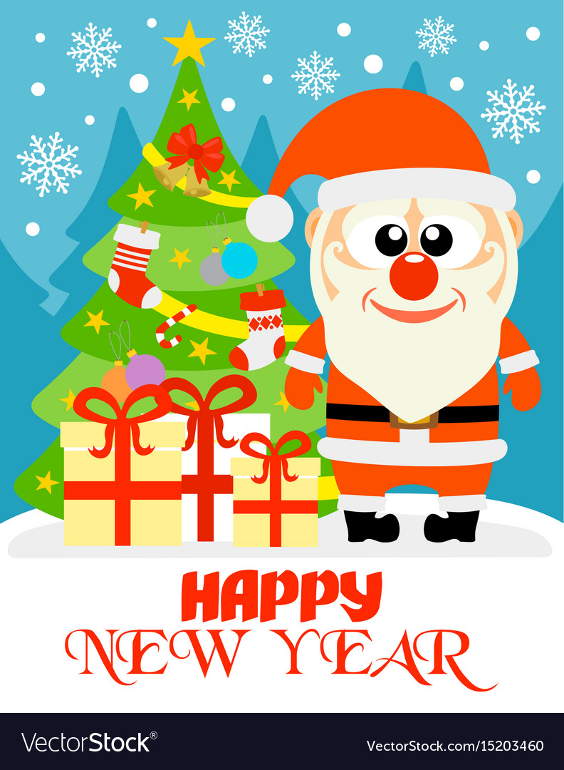 Happy new year card with funny santa claus