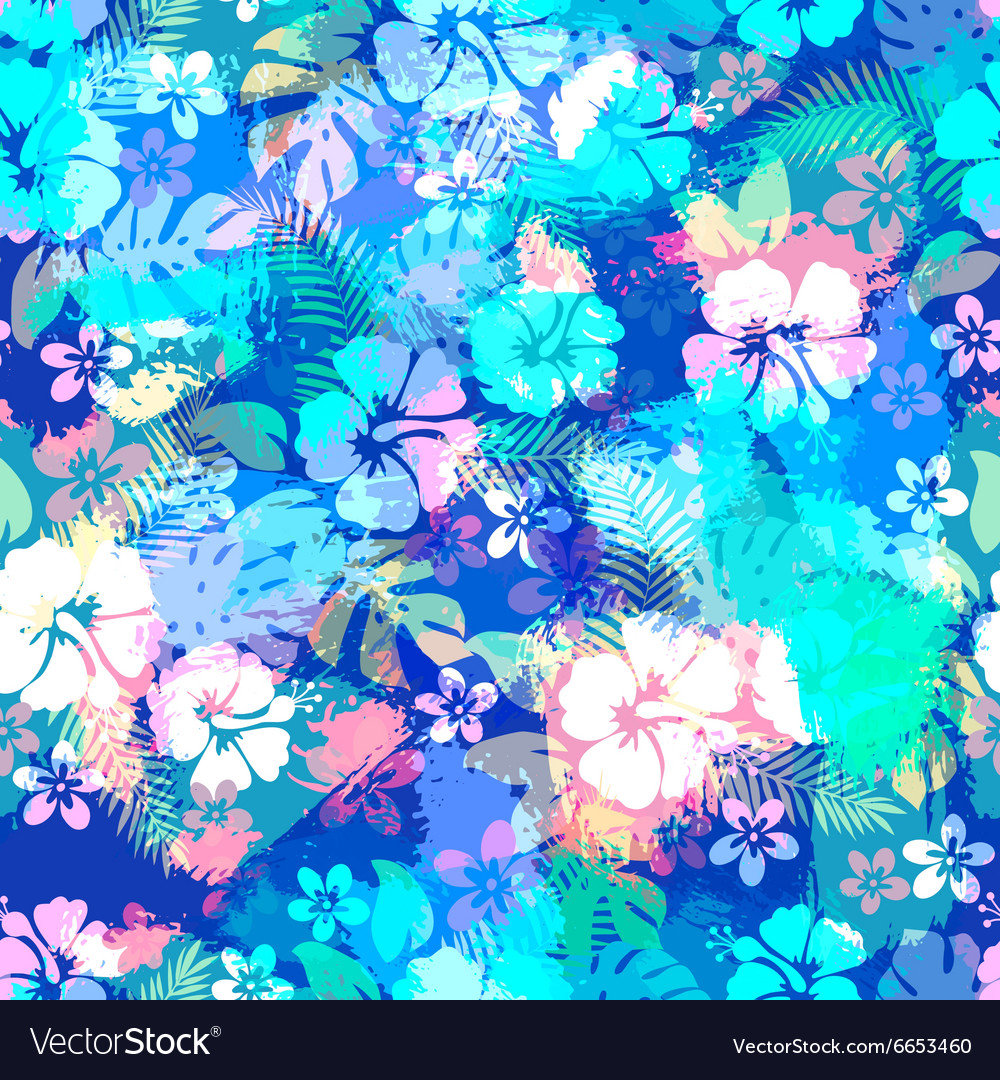Hawaiian tropical floral seamless pattern
