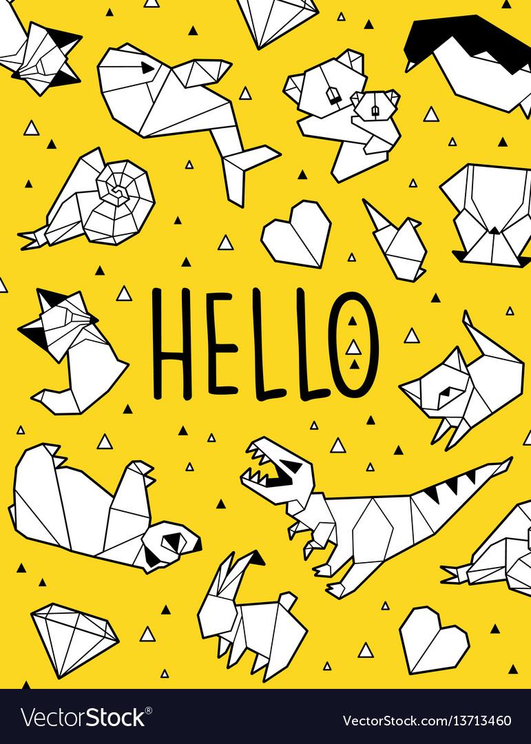 Hello origami card