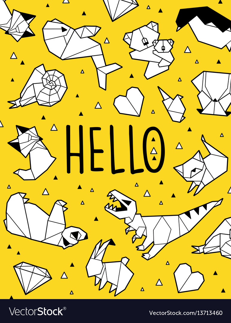 Hello origami card vector image
