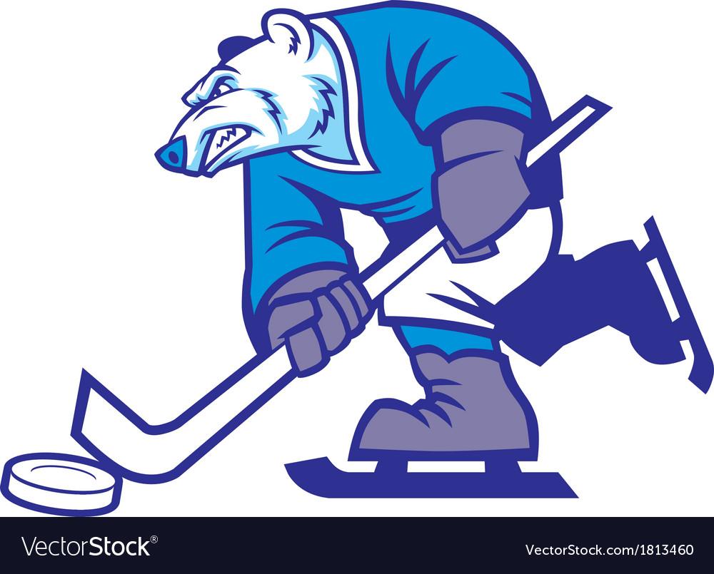 Ice hockey polar bear mascot vector image