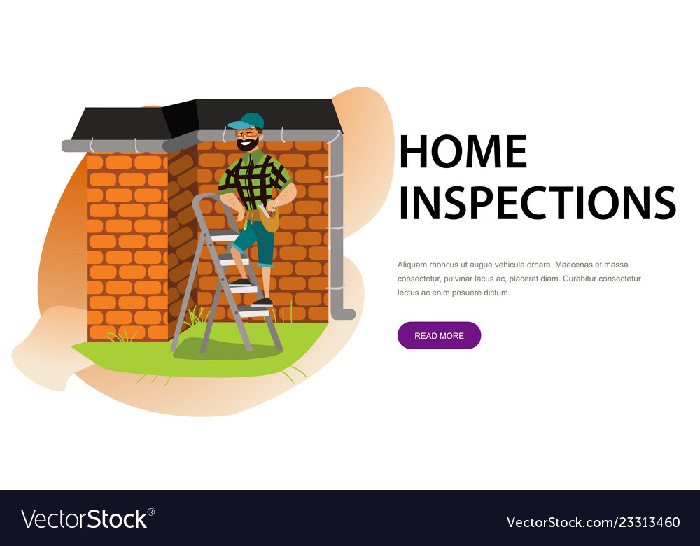 Man With Tools Examines House Roof Poster Cartoon Vector Image