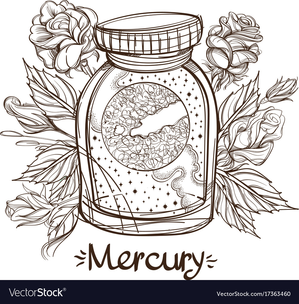 Mercury in a glass jar the planet of the solar