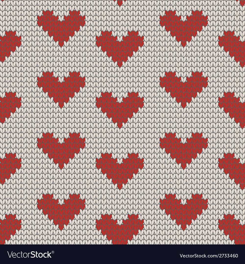 Seamless knitting pattern with Hearts Royalty Free Vector