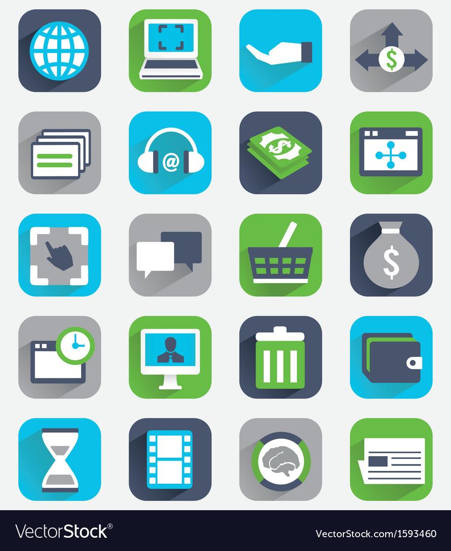 Set of flat analytics and statistics icons