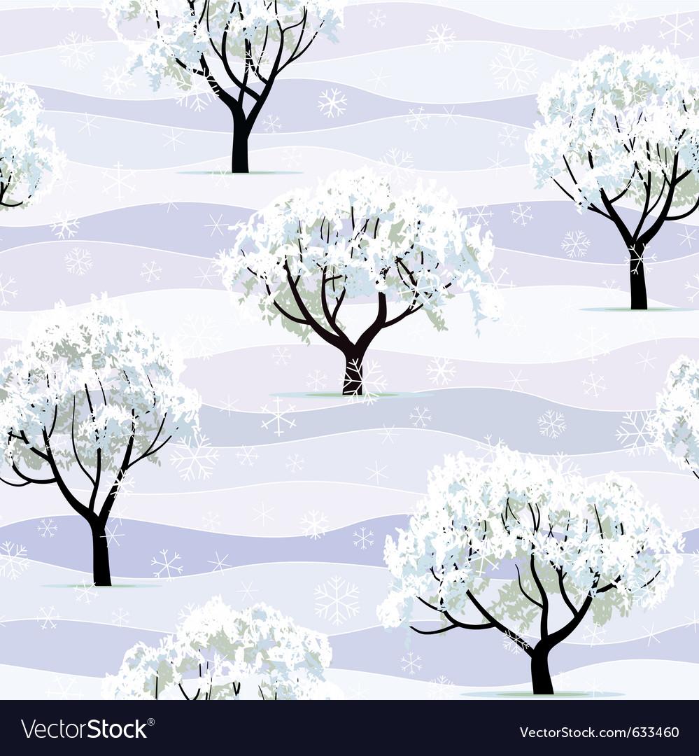 Trees in snow in winter garden seamless