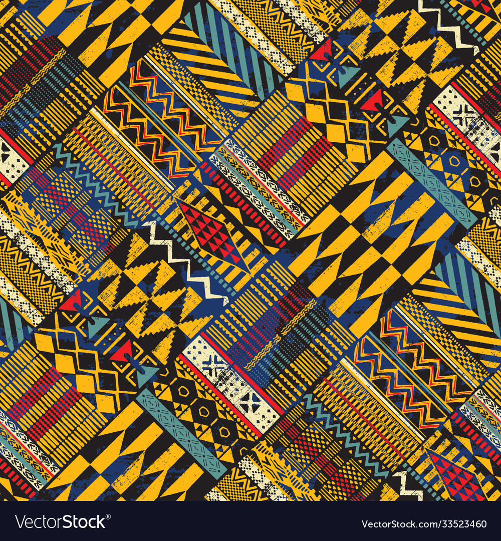 Tribal african style fabric diagonal patchwork