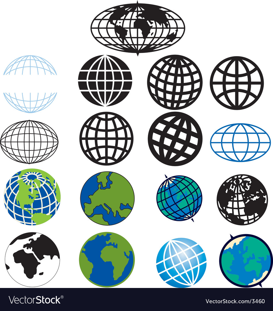 Various globes and earth icons