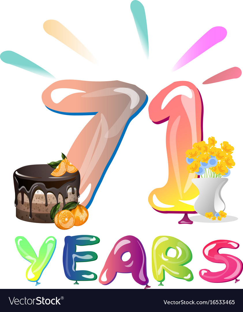 71 Years Anniversary Greeting Card Royalty Free Vector Image