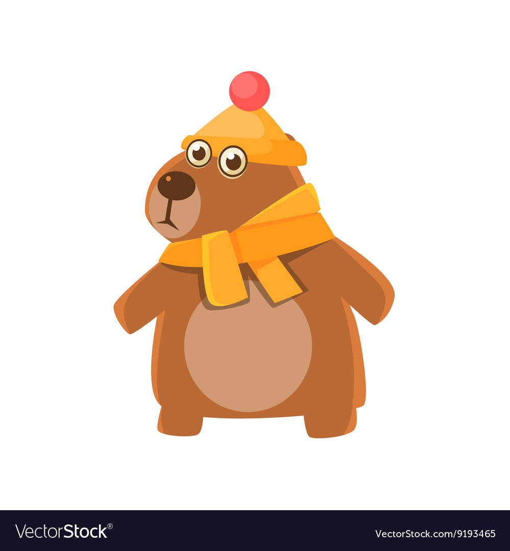 Bear Wearing Hat And Scarf