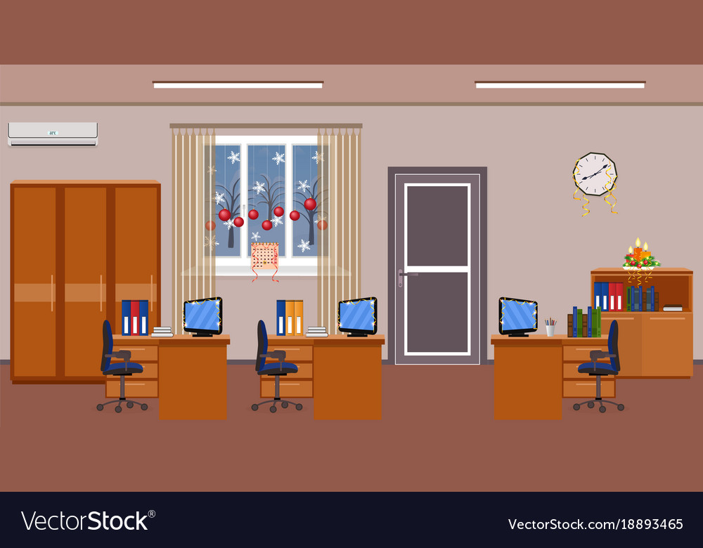Christmas office room interior decoration holiday Vector Image