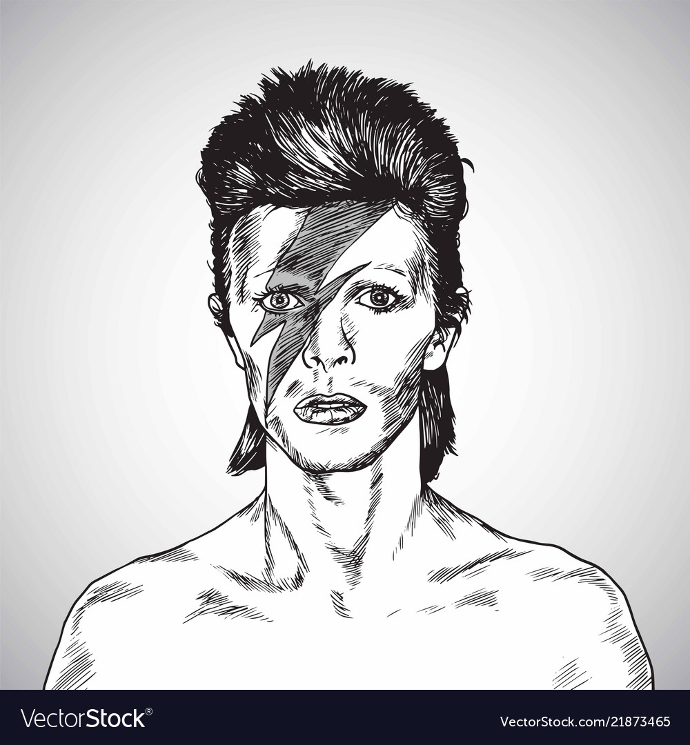 David Bowie Portrait Drawing Caricature Royalty Free Vector