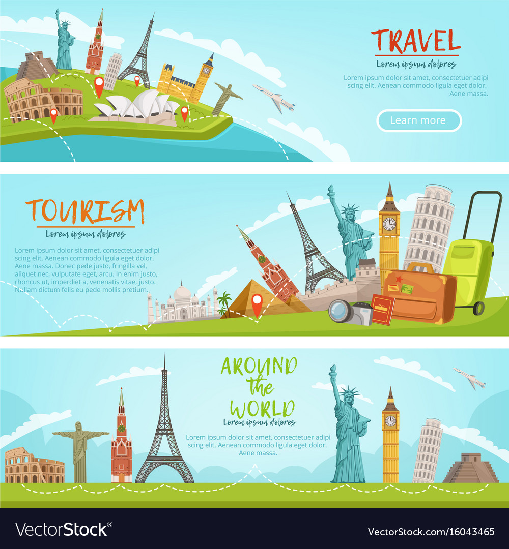 Design of three horizontal banners of vector image