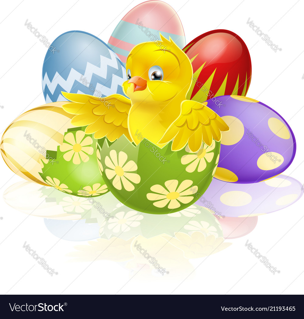 Easter chick in egg vector image