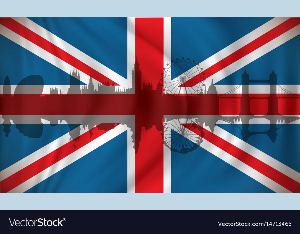 Flag of united kingdom with london skyline vector image
