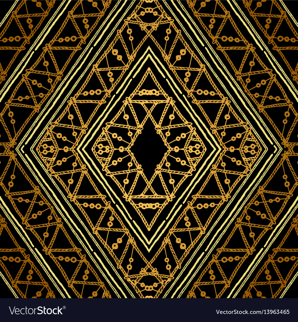 Golden ethnic geometric seamless pattern