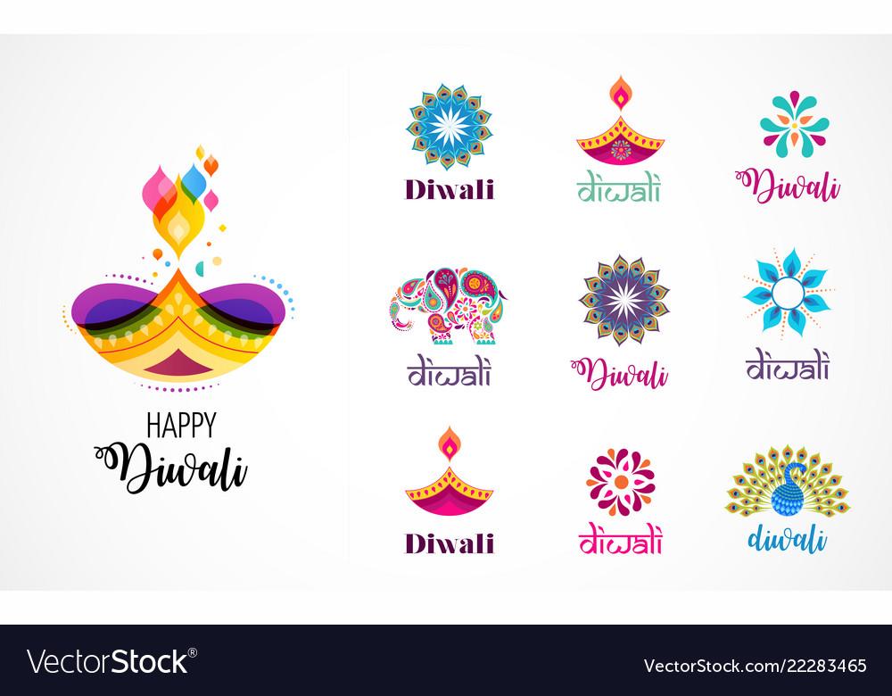 Happy diwali hindu festival icons elements logo