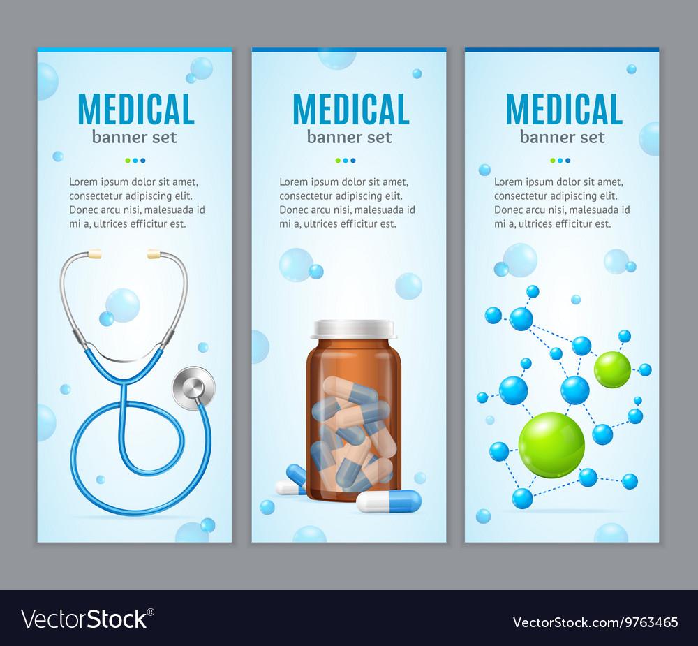 Medical Banner Vertical Set vector image