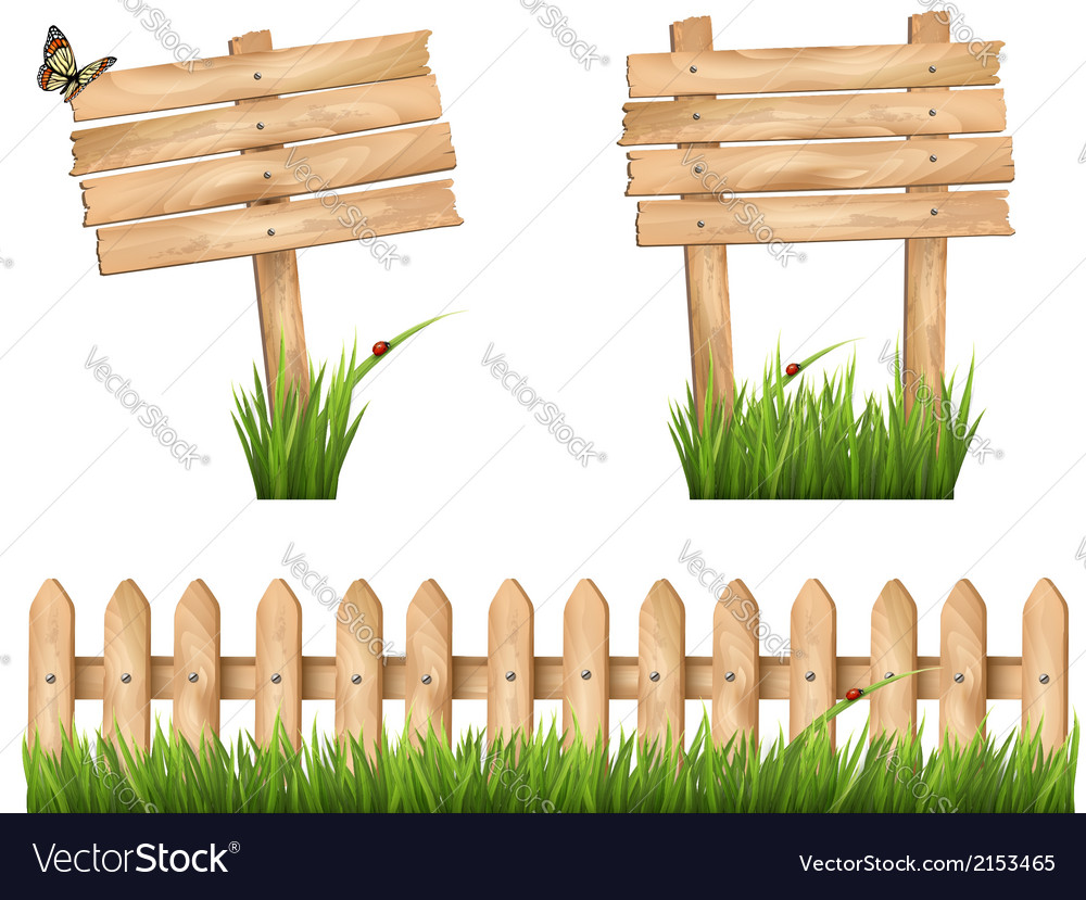 Two wooden signs and a fence with grass
