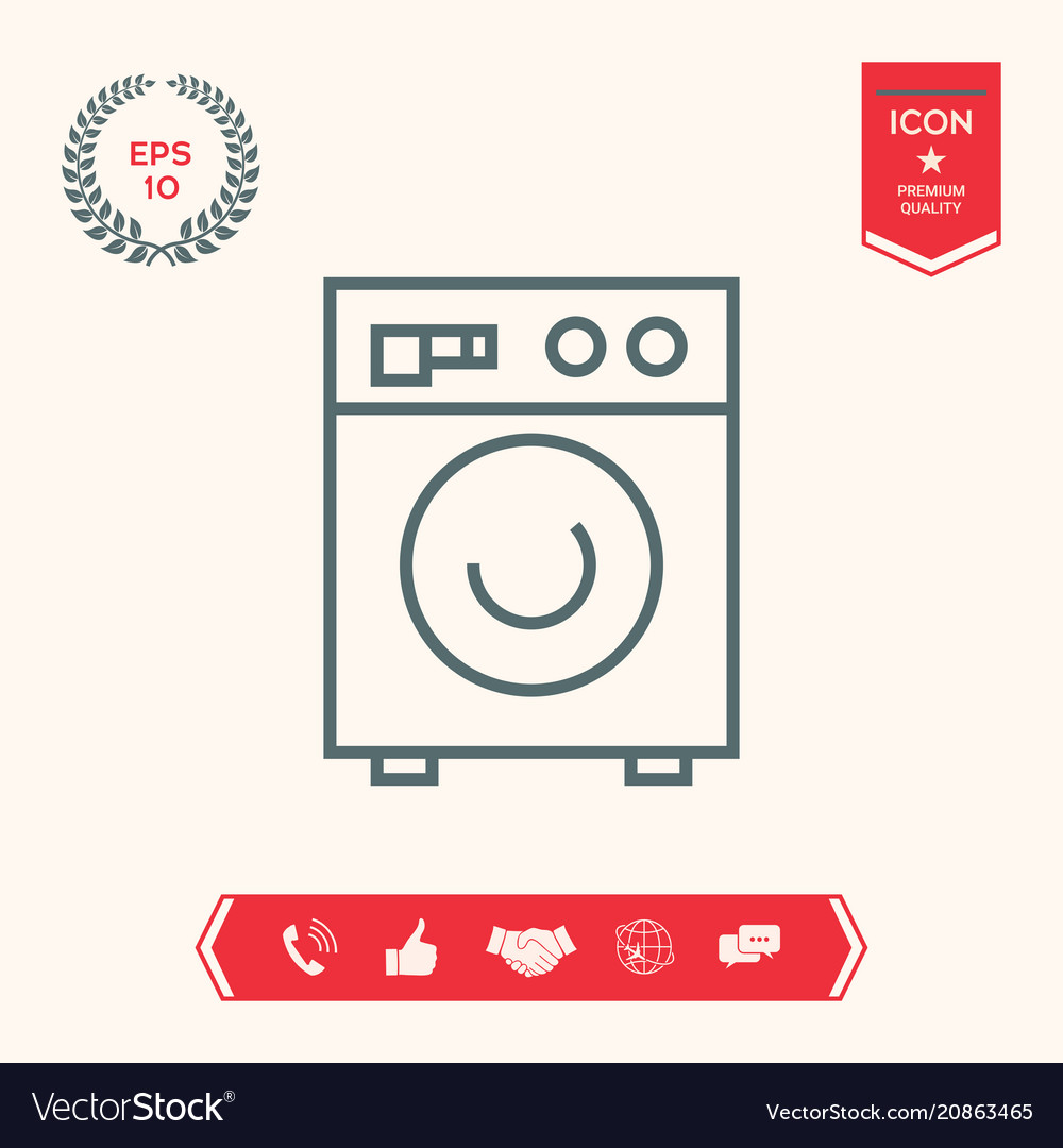 Washing Machine Linear Icon Royalty Free Vector Image
