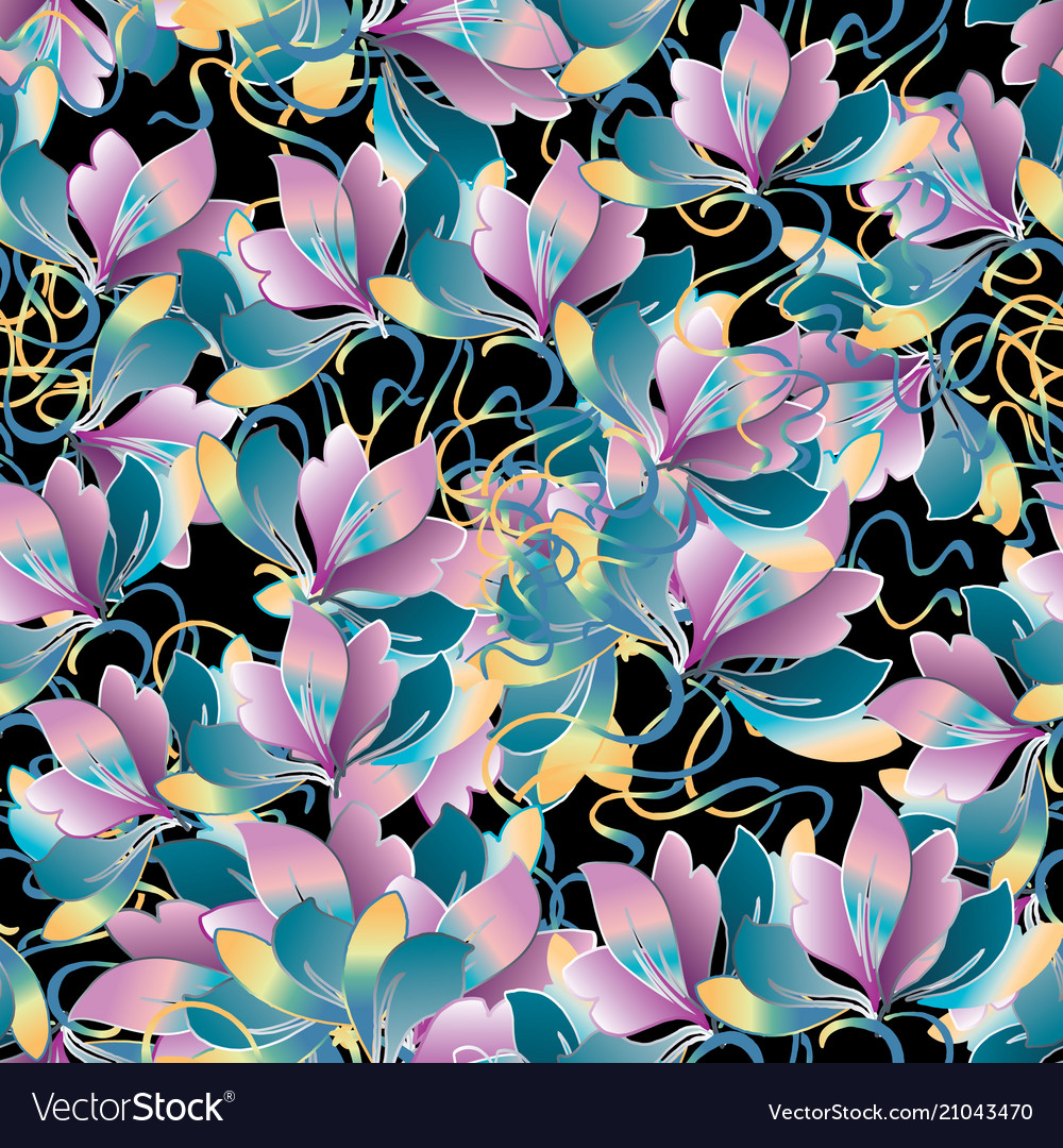 Beautiful flowers seamless pattern vector image