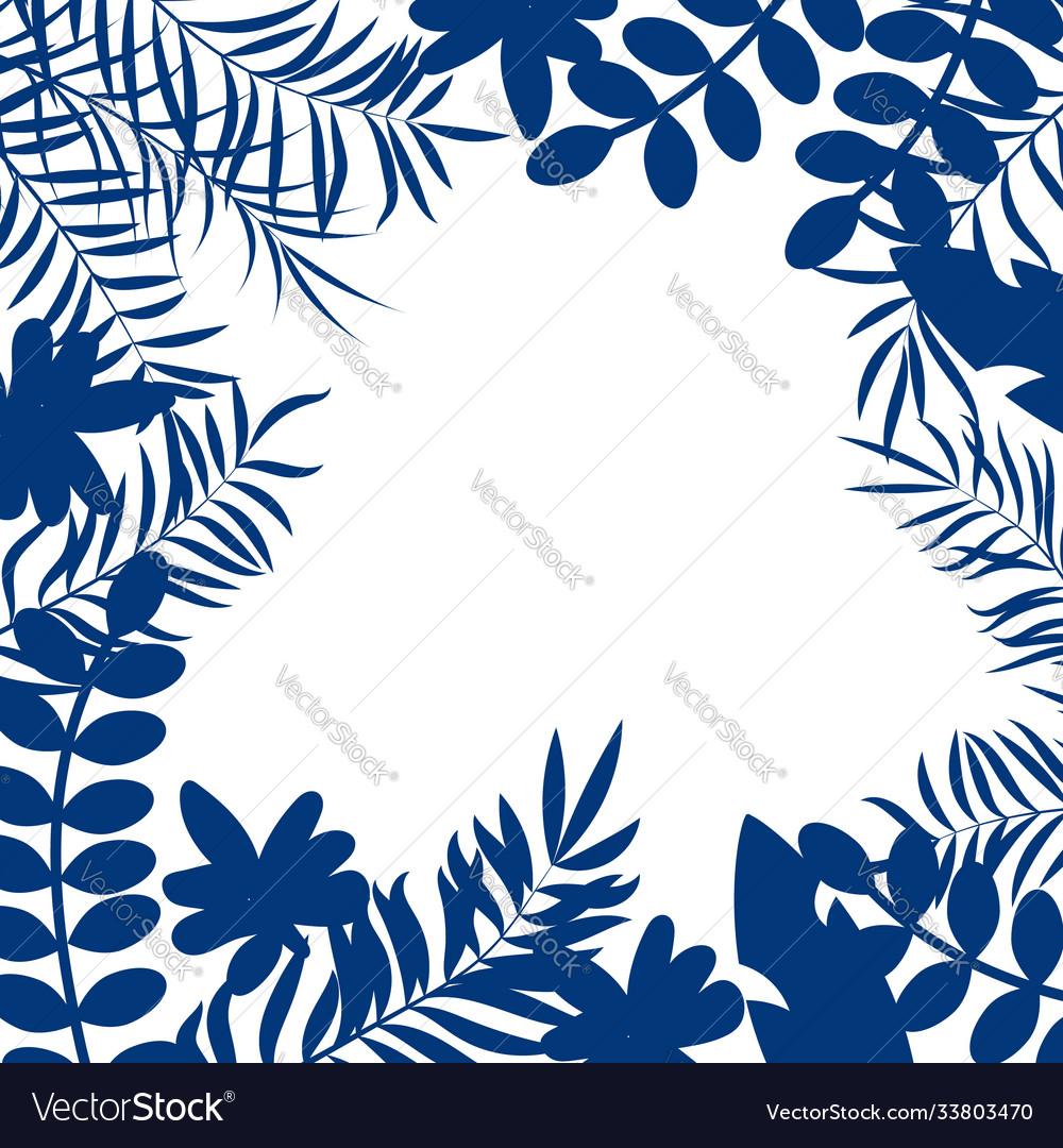 Blue tropical jungle floral frame with palm leaves