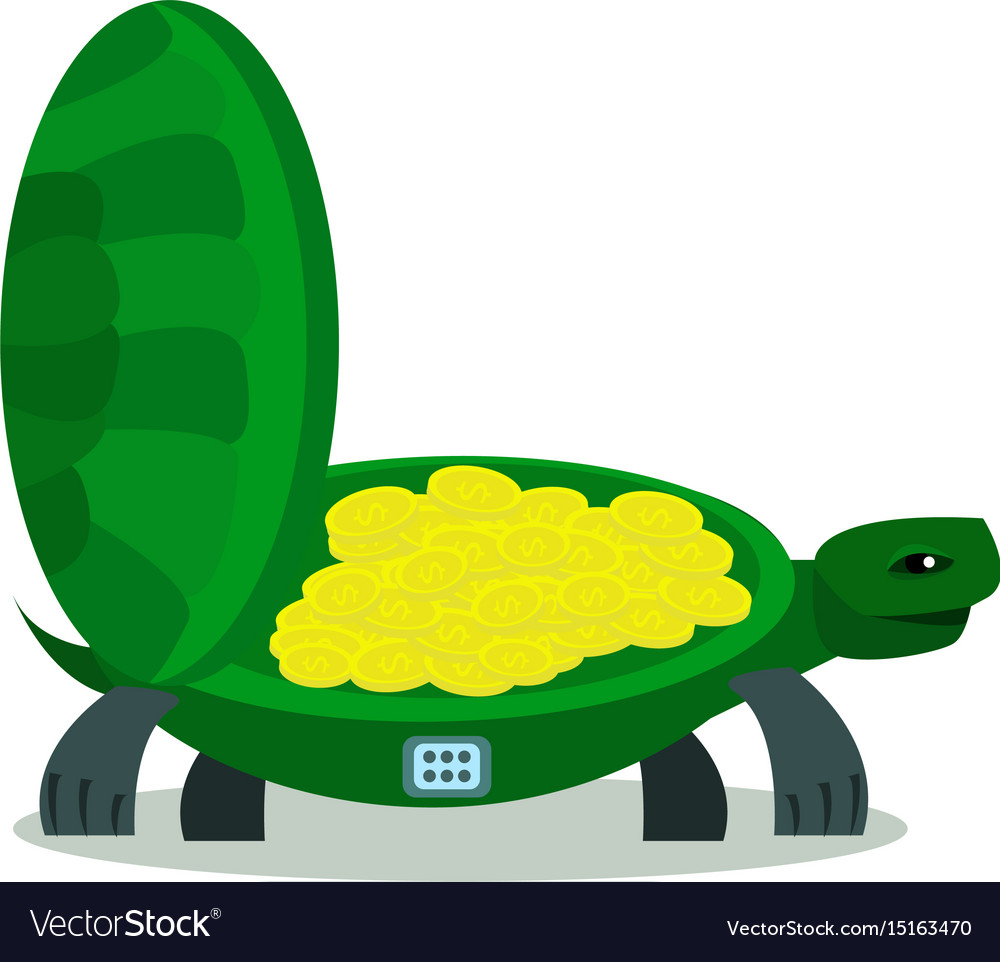 Cute turtle with coin turtle safe icon