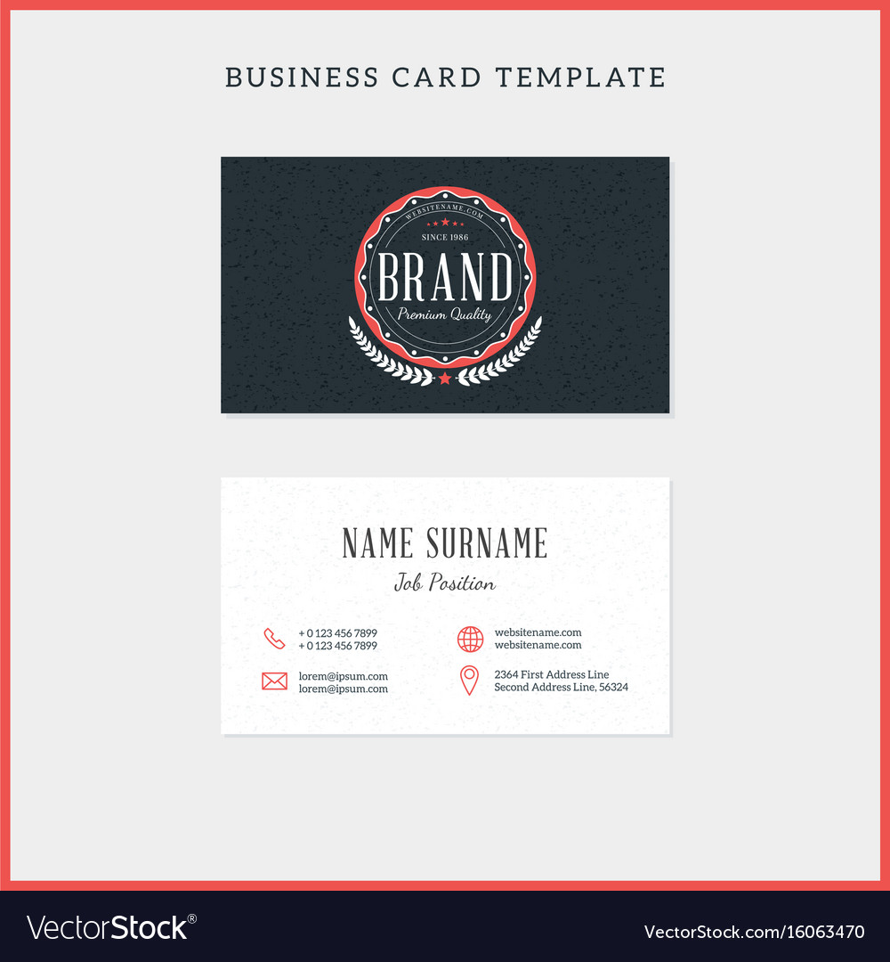 Double sided vintage business card template with vector image flashek Images