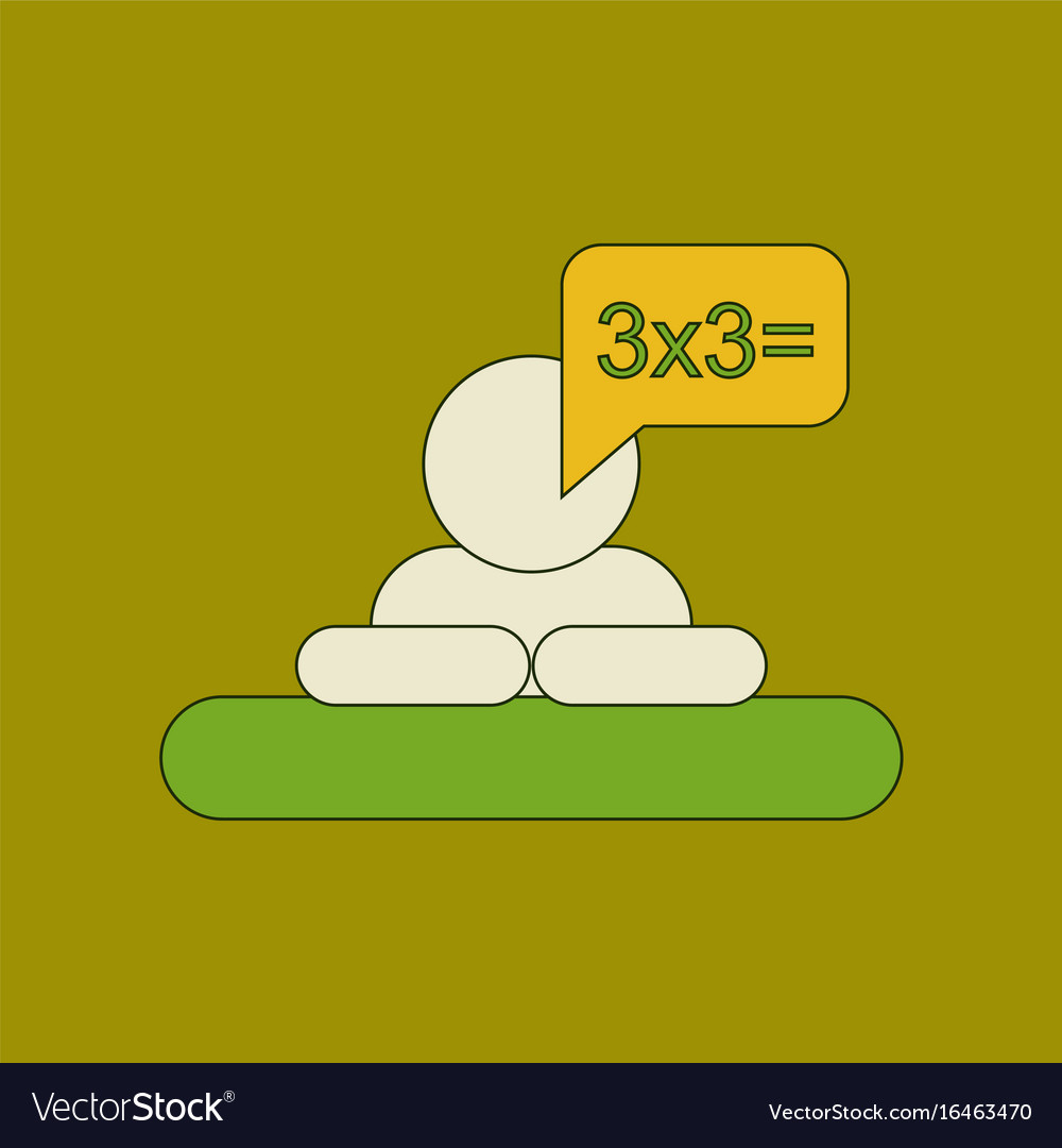 Flat icon thin lines schoolboy thinks math vector image