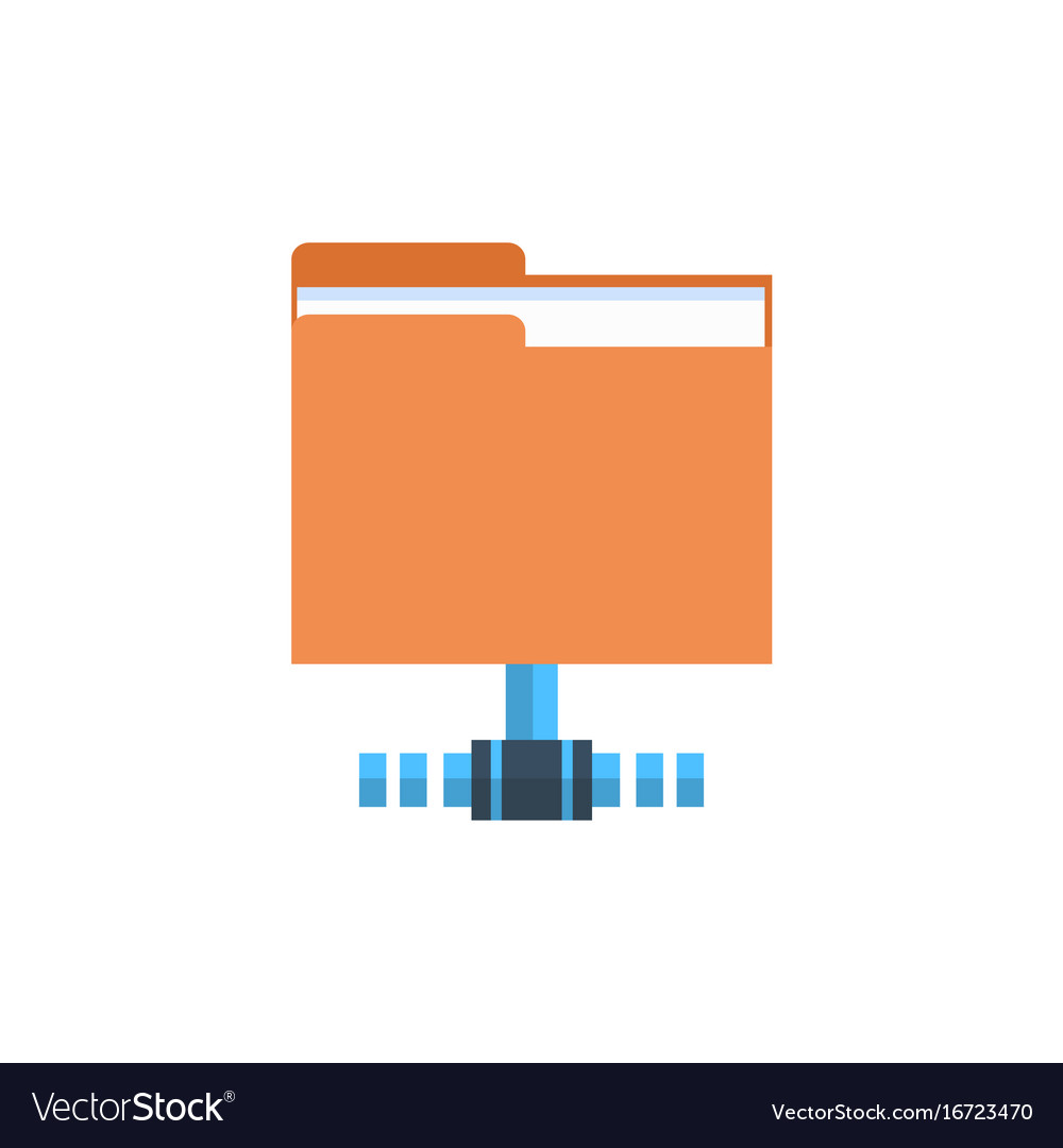 Folder data access icon cloud computer connection vector image