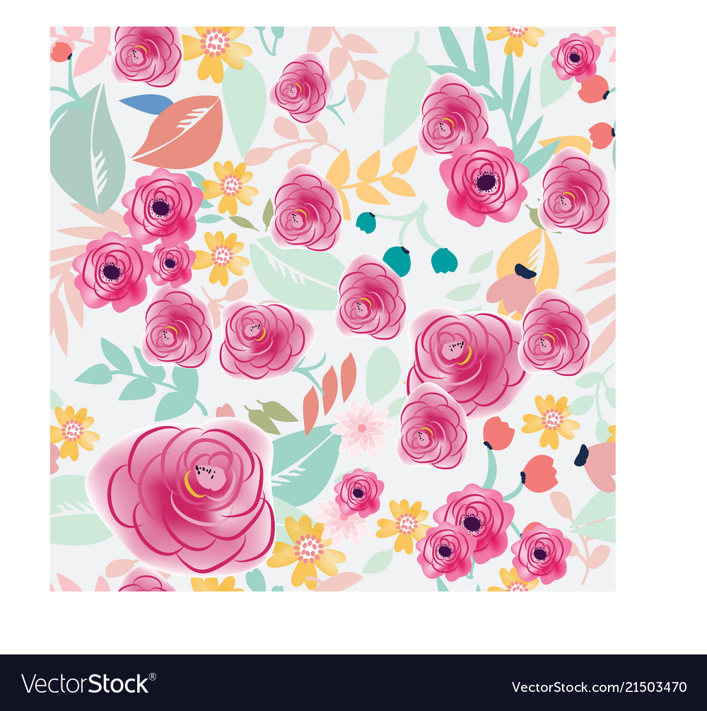 Pink and blue pastel colorful flower seamless vector image izmirmasajfo