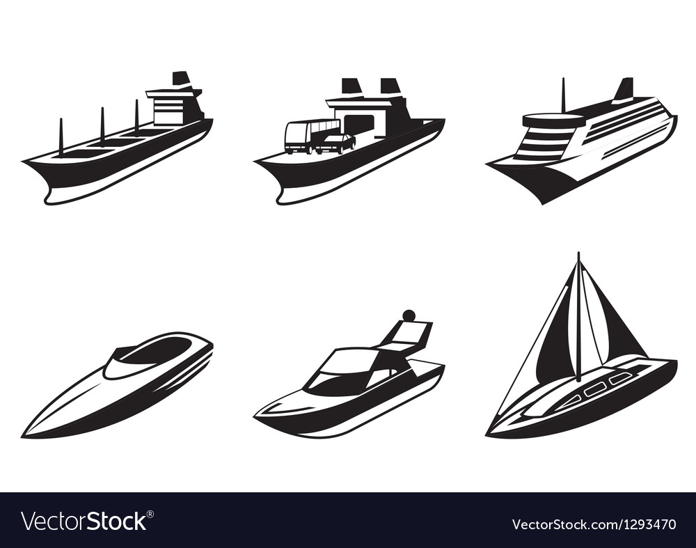 Sea ships and boats in perspective vector image