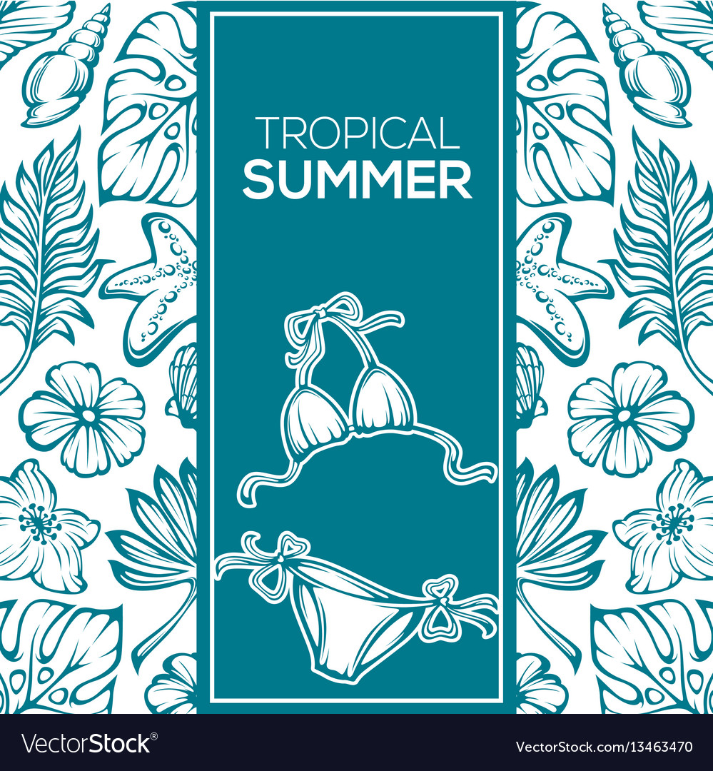 Tropical summer background leaves flowers and
