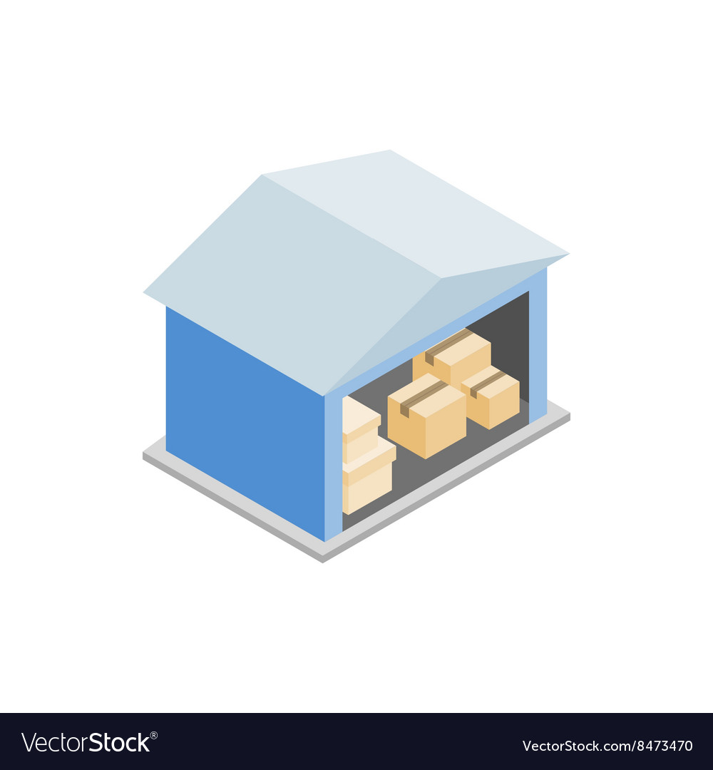 Warehouse with open door icon isometric 3d style vector image