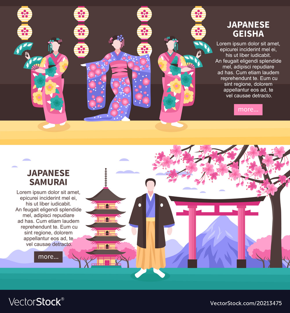 Ancient japan banners vector image
