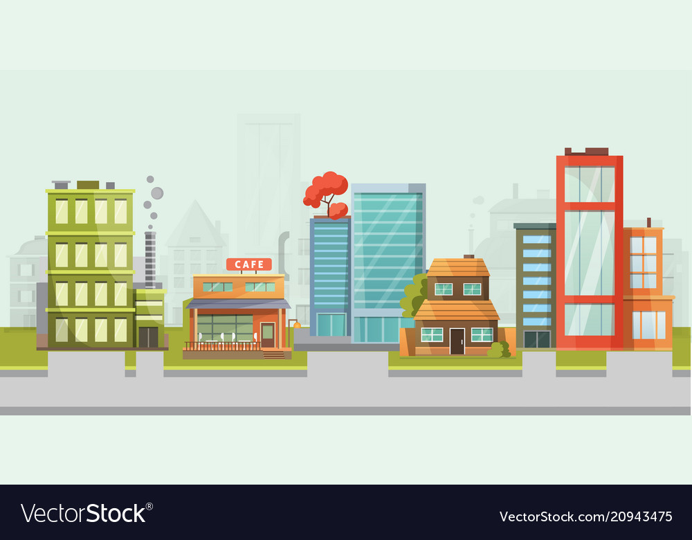 City street buildings modern family house with
