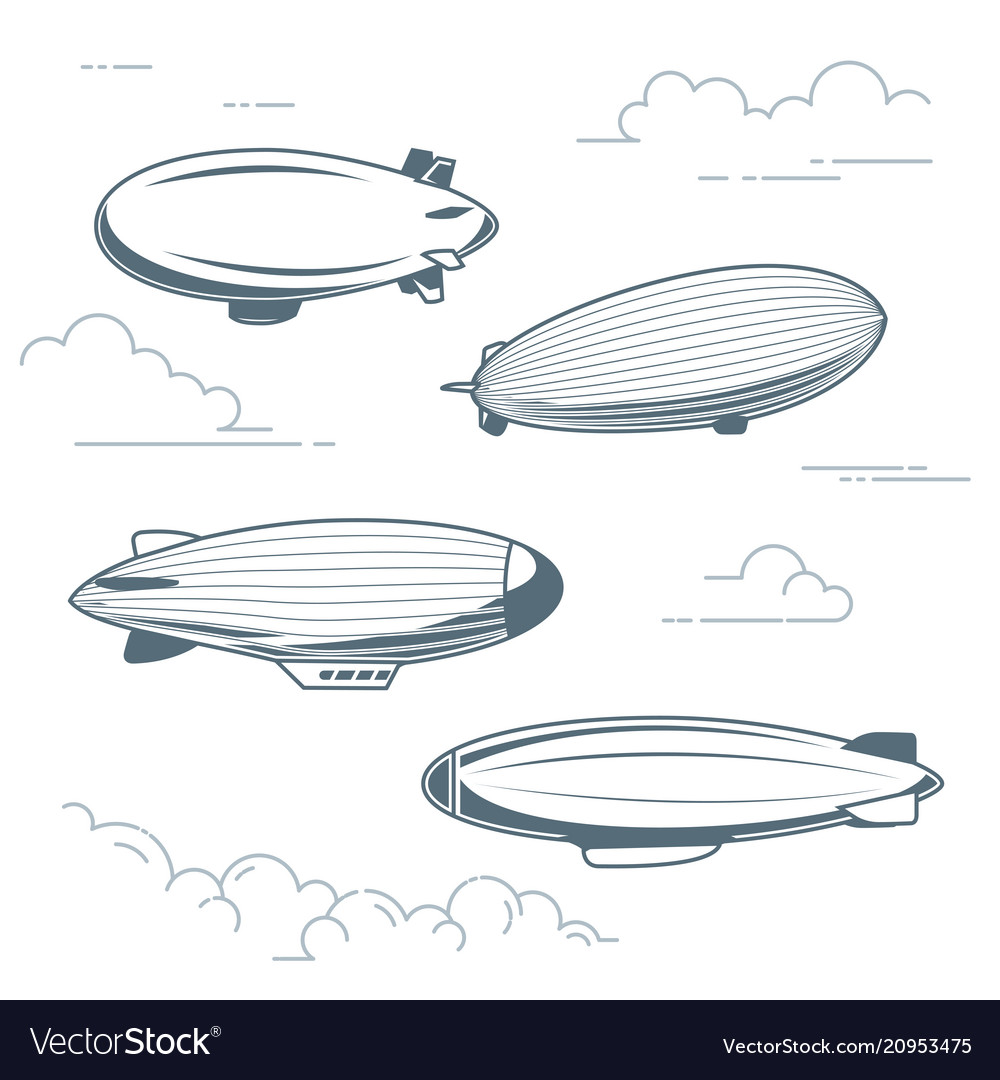 Collection of vintage airships - hot air balloons