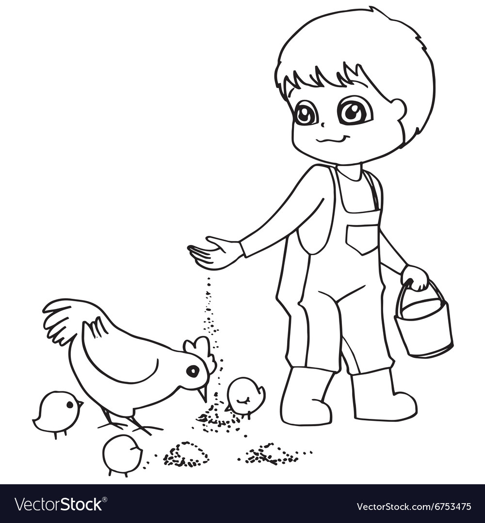 Coloring Book Child Feeding Chicken Vector Image
