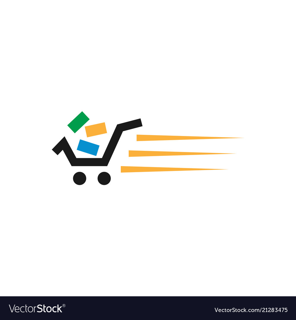 Fast shopping cart retail logo design template