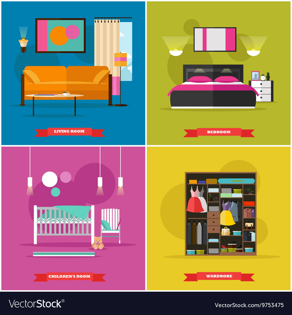 Home interior in flat style vector image