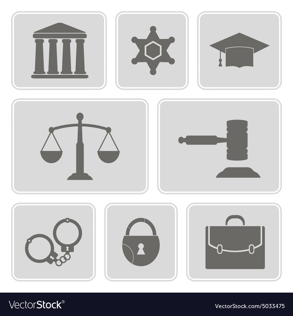 Icons With Symbols Of Law And Courts Royalty Free Vector