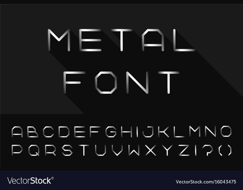 Metal font iron english alphabet steel latin